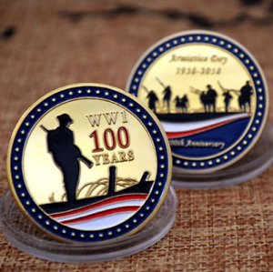 GOLD PLATED COMMEMORATIVE COIN FOR THE 100TH ANNIVERSARY OF WORLD WAR ARMISTICE