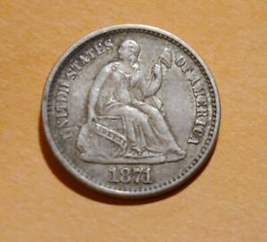1871 P HALF DIME BEAUTIFUL ORIGINAL UNTOUCHED UNCLEANED ABOUT UNCIRCULATED