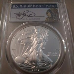 2012 THOMAS CLEVELAND SIGNED INDIAN HEAD LABEL PCGS MS70 AMERICAN SILVER EAGLE