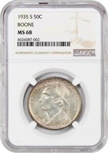 1935 S BOONE 50C NGC MS68   LOW MINTAGE ISSUE   SILVER CLASSIC COMMEMORATIVE