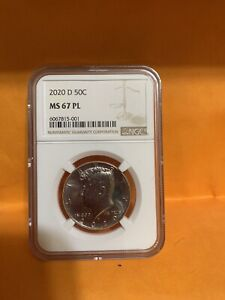 A 2020 D HALF DOLLAR GRADED BY NGC MS67 PROOF LIKE GREAT
