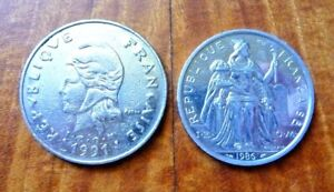 MIXED LOT OF 2 COINS FROM NEW CALEDONIA 5F 1986 & 50F 1991  KM13 & KM16