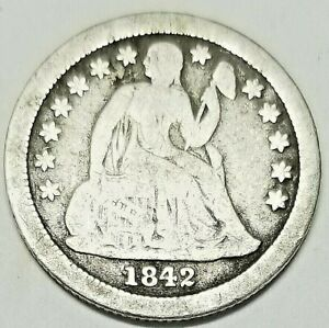 1842 O SILVER SEATED LIBERTY DIME TYPE 3 STARS OBVERSE G/AG
