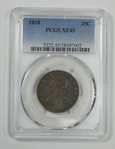 1818 CAPPED BUST QUARTER CERTIFIED PCGS XF 45 SILVER 25C