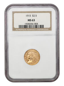 1915 $2 1/2 NGC MS63   2.50 INDIAN GOLD COIN