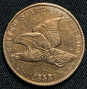 1858 FLYING EAGLE CENT PHILADELPHIA MINT LY FINE CONDITION CLEANED