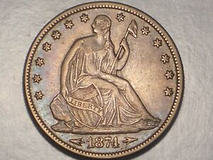 1874 SEATED LIBERTY HALF DOLLAR  XF ARRS. @ DATE & ATTRACTIVE