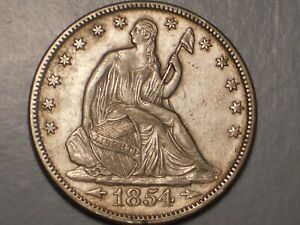 1854 SEATED LIBERTY HALF DOLLAR  XF & ATTRACTIVE