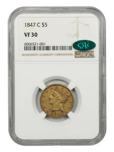 1847 C $5 NGC/CAC VF30   POPULAR BRANCH MINT ISSUE   POPULAR BRANCH MINT ISSUE