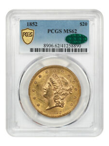 1852 $20 PCGS/CAC MS62   NICE    LIBERTY DOUBLE EAGLE   GOLD COIN   NICE