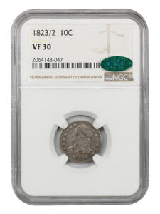 1823/2 10C NGC/CAC VF30  SMALL ES  BUST DIME
