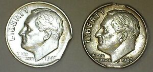 2  PCS.  SILVER 10 CLIPPED PLANCHETS