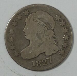 1827 CAPPED BUST SILVER DIME GOOD SILVER 10C