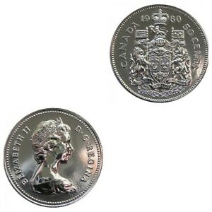 LAST ONE CANADA 1980 50 CENT PIECE FROM MINT ROLL