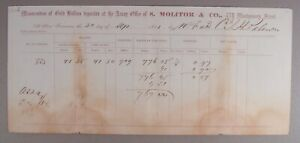1861 ASSAY OFFICE OF S. MOLITOR & CO. SAN FRANCISCO RECEIPT 41 OZ OF GOLD DUST