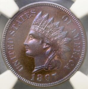Click now to see the BUY IT NOW Price! 1897 INDIAN HEAD CENT/PENNY UNIQUE POP 1/0 MAGNIFICENT FINEST KNOWN NGC PF 66 RB