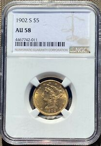 1902 S $5 GOLD LIBERTY HEAD HALF EAGLE TYPE 2 WITH MOTTO NGC CERTIFIED AU58