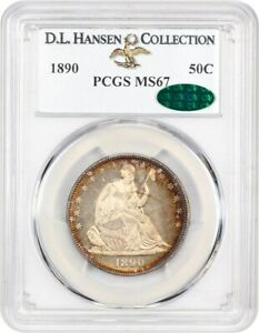 Click now to see the BUY IT NOW Price! 1890 50C PCGS/CAC MS67 EX: D.L. HANSEN   LOW MINTAGE ISSUE