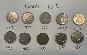 10 CANADIAN DIMES   FILL YOUR COLLECTOR BOOK FAST    VARIOUS   1973 TO 1987