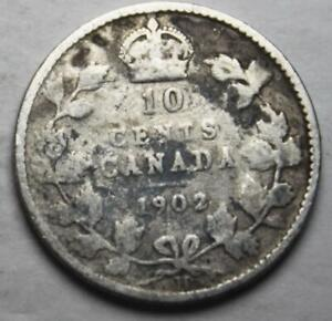 CANADA 1902H SILVER 10 CENTS OLD DATE KING EDWARD VII  13B