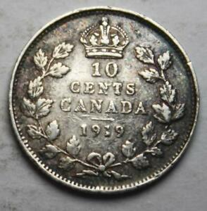 CANADA 1919 SILVER 10 CENTS NICE GRADE OLD DATE KGV  22D