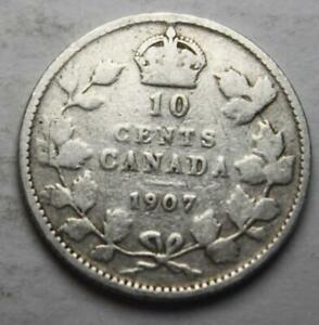 CANADA 1907 SILVER 10 CENTS OLD DATE KING EDWARD VII  25D