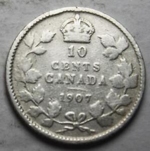 CANADA 1907 SILVER 10 CENTS OLD DATE KING EDWARD VII  25E