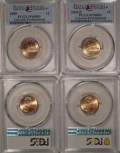 2009 P & D LINCOLN PROFESSIONAL 1C CENT 2 COIN SET PCGS SP68RD SATIN FINISH