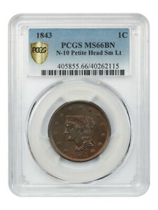 Click now to see the BUY IT NOW Price! 1843 1C PCGS MS66 BN  PETITE HEAD SMALL LETTERS    FINEST KNOWN BN EXAMPLE