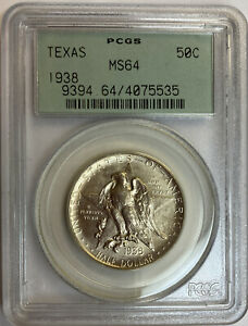 1938 TEXAS COMMEMORATIVE SILVER HALF DOLLAR PCGS MS64 OLD GREEN HOLDER OGH
