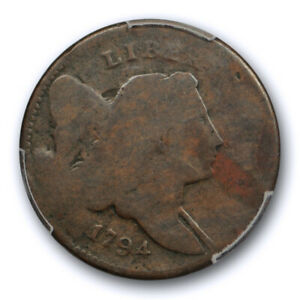 1794 1/2C LIBERTY CAP HALF CENT PCGS AG 3 ABOUT GOOD EARLY AMERICAN COPPER COIN