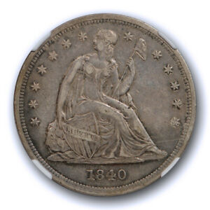 1840 $1 SEATED LIBERTY DOLLAR NGC XF 45 EXTRA FINE TO ABOUT UNCIRCULATED TOUGH