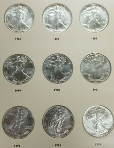 Click now to see the BUY IT NOW Price! 1986 2021 AMERICAN SILVER EAGLE DOLLAR COIN COMPLETE UNC SET & BOOK L095