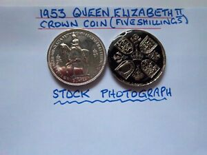 SALE PRICE1953 CORONATION CROWN  COIN [849] SILVER PLATED AND BLACK ENAMELLED