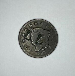 COUNTER STAMP L L ON 1827 CORONET HEAD LARGE CENT