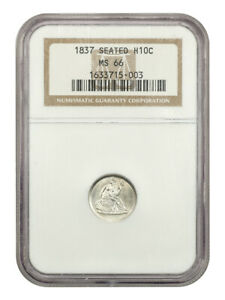 1837 H10C NGC MS66  NO STARS LARGE DATE  ONE YEAR TYPE COIN   SEATED HALF DIME