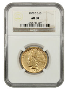 1908 S $10 NGC AU50   BETTER DATE S MINT   INDIAN EAGLE   GOLD COIN