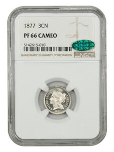 1877 3CN NGC/CAC PR 66 CAM    PROOF ONLY ISSUE   3 CENT NICKEL