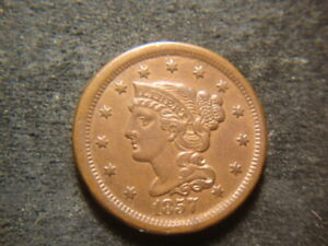 1857 SMALL DATE BU AU RED BROWN CORONET HEAD BRAIDED HAIR LARGE CENT  T2X