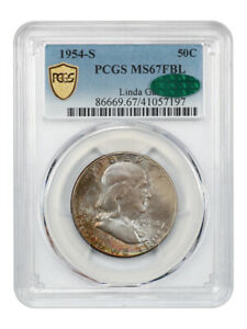 Click now to see the BUY IT NOW Price! 1954 S 50C PCGS/CAC MS67 FBL EX: LINDA GAIL   FRANKLIN HALF DOLLAR