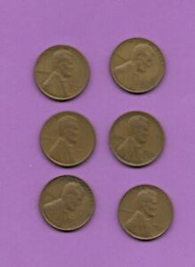 PENNY LOT OF 6 WHAETBACK LINCOLN COINS FROM THE 1940'S