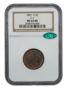 1857 1/2C NGC/CAC MS63 RB   BRAIDED HAIR HALF CENTS  1840 1857