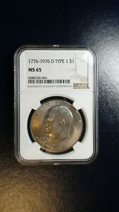 1776 1976 D TYPE 1 EISENHOWER DOLLAR NGC MS65 UNCIRCULATED IKE $1 COIN BUY IT