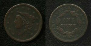 1838 MODIFIED MATRON HEAD LARGE CENT VF NICELY TONED NR