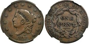 1828 LARGE NARROW DATE MATRON HEAD LARGE CENT VF 25 BN STACK'S 57 ST. COLLECTION