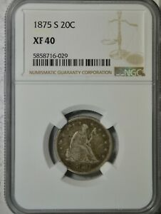 1875 S 20 CENT NGC XF40