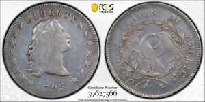 1795 $1 3 LEAVES FLOWING HAIR DOLLAR PCGS F FINE DETAILS 'POLISHED' TOUGH