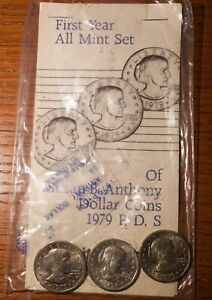 1979 SUSAN B ANTHONY DOLLAR COIN SET P D AND S