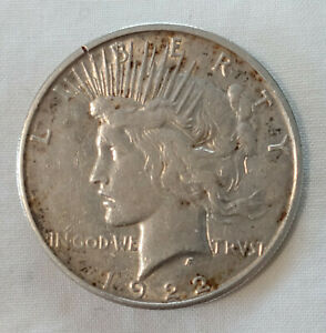 1922 S LIBERTY PEACE GOLD TONED DOLLAR SILVER $1 COIN US CURRENCY