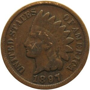 1897 ONE CENT UNITED STATES INDIAN HEAD COIN  MO1963